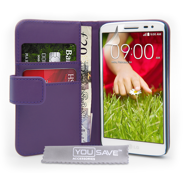 promo code a0bf3 86a4f YouSave Accessories LG G2 Mini Leather-Effect Wallet Case - Purple -  nzgameshop.com