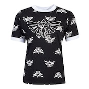 Nintendo - Hyrule Royal Crest With All-Over Print Pattern Women's Medium T-Shirt - Black/White