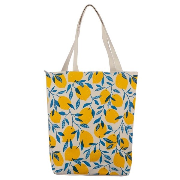 Lemons Handy Cotton Zip Up Shopping Bag