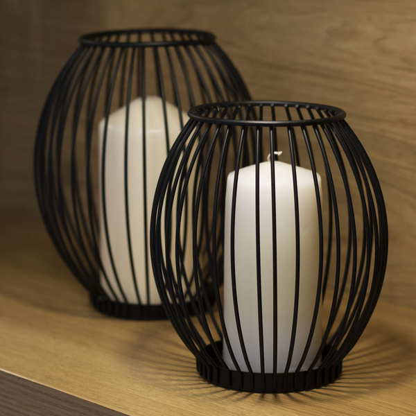 M&W Set Of 2 Cage Candle Holders