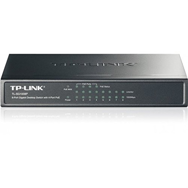 TP-Link 8-Port Gigabit Unmanaged Desktop Switch, 4-Port PoE, Steel Case