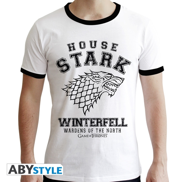 Game Of Thrones - House Stark Men's Large T-Shirt - White