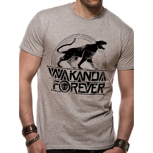 Black Panther Movie - Unisex Small Wakanda Forever T-Shirt (Grey)