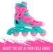 Xootz Kids Inline Skates Adjustable Beginner Roller Blade Boots Girls Pink/Blue MediumUK 13-3 - Image 2