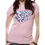 Supergirl - Text & Logo Women's Fitted Small T-Shirt - Pink