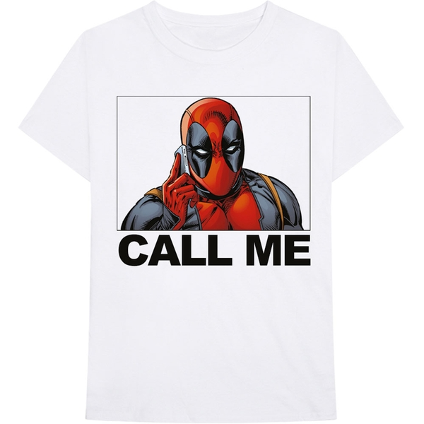 Marvel Comics - Deadpool Call Me Men's Medium T-Shirt - White
