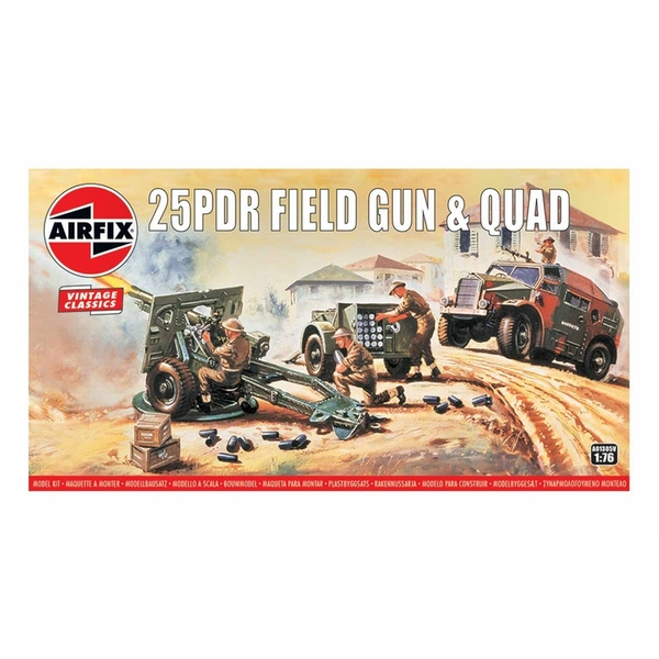 25PDR Field Gun & Quad 1:76 Vintage Classic Military Air Fix Model Kit