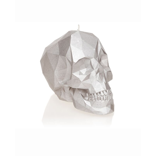 Silver Large Low Poly Skull