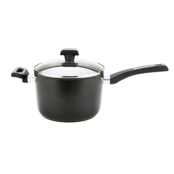 Prestige Duraforge Induction Aluminium Saucepan with Helper Handle Black 3.8 Litre, 20 cm ,Black