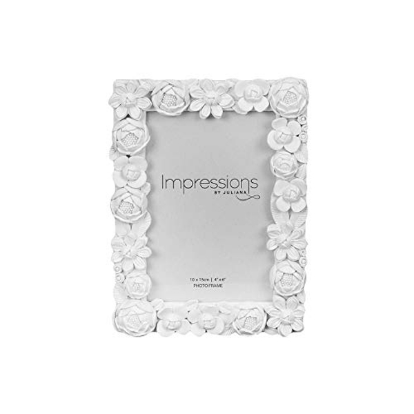 """4"""" x 6"""" - Impressions White Resin Floral Photo Frame"""