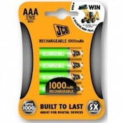 JCB AAA Rechargable Batteries 4 Pack