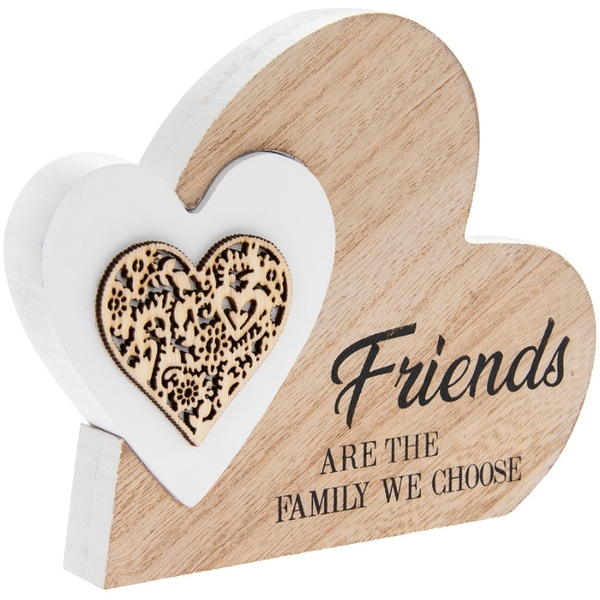 Friends are Family We Choose Wooden Heart Plaque