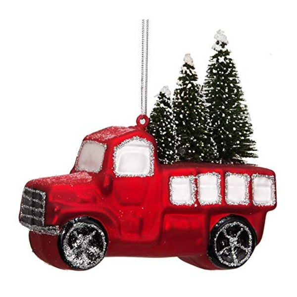 Red Truck with Christmas Tree Hanging Decoration