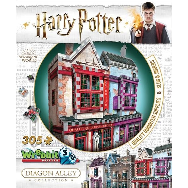 Harry Potter Hogwarts Diagon Alley Collection Quidditch Supplies & Slug & Jiggers Wrebbit 3D Jigsaw Puzzle