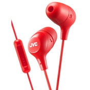 JVC HAFX38MR Marshmallow Custom Fit In-Ear Headphones with Remote & Mic Red