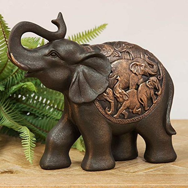 Resin Elephant Figurine with Trunk Raised - 20cm