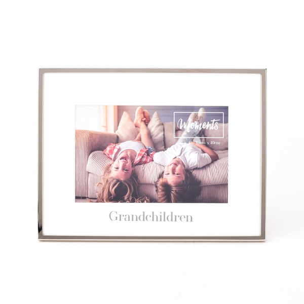 """Moments Silver with Mount Photo Frame 6"""" x 4"""" -Grandchildren"""