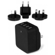 StarTech 4-Port USB Wall Charger International Travel 34W/6.8A Black
