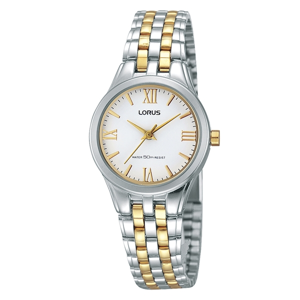 Lorus RRS99TX9 Ladies Two Tone Bracelet Watch with Gold Roman Numerals