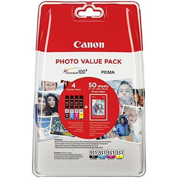 Canon CLI-551 Inkjet Cartridge Value Pack KCMY 6508B005, Pack of 4