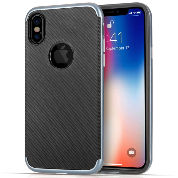 Compare prices with Phone Retailers Comaprison to buy a Apple iPhone X Carbon Fibre TPU PC Gel Case - Blue
