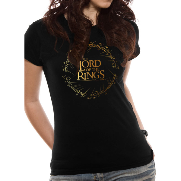 Lord Of The Rings - Gold Foil Logo Women's X-Large T-Shirt - Black