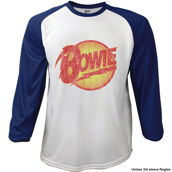 David Bowie - Smoking Men's Large Raglan T-Shirt - Navy Blue, White