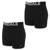 Lonsdale 2 Pack Mens Boxers Black & Silver Large