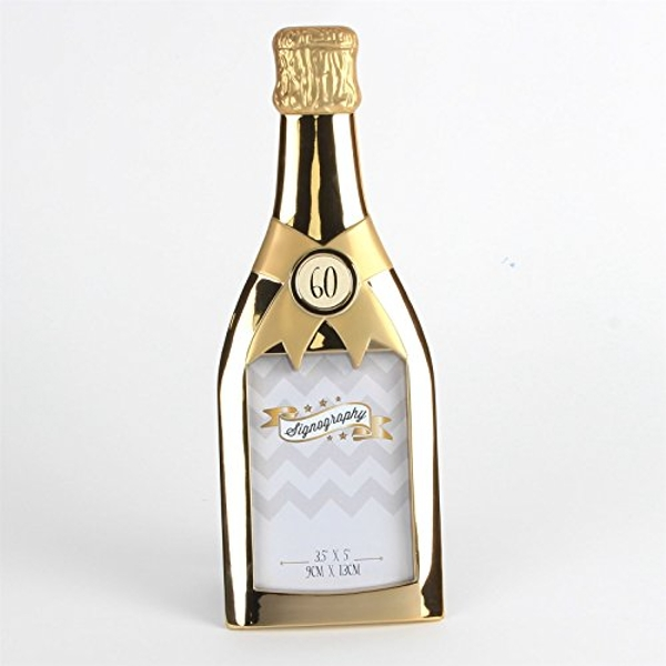 "3.5"" x 5"" - Signography Gold Champagne Bottle Frame - 60th"