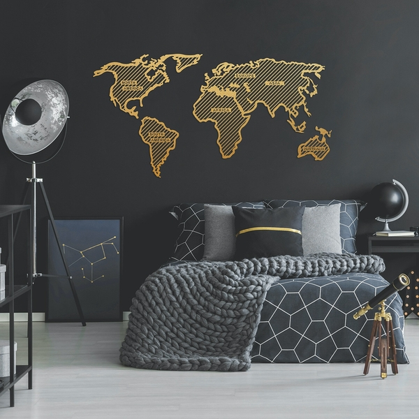 World Map In The Stripes - Gold (120 x 65) Gold Decorative Metal Wall Accessory