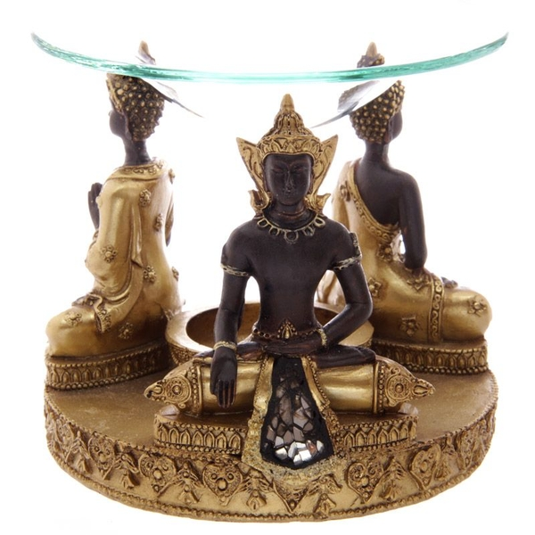 Gold and Brown Thai Buddha Oil Burner with Dish