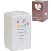 Said with Sentiment Ceramic Tea Light Holders Happy Birthday