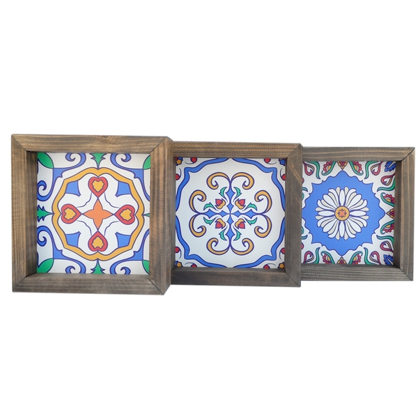 UKZM057 Multicolor Decorative Framed MDF Painting (3 Pieces)