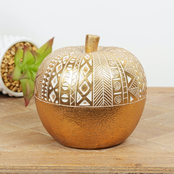 Gold Finish Apple Ornament with Ornate Pattern