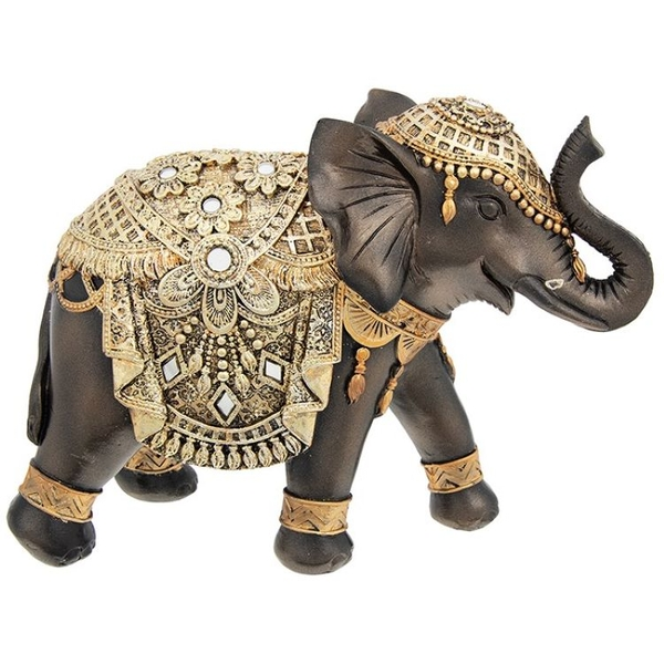 Black Gold Elephant Large Ornament