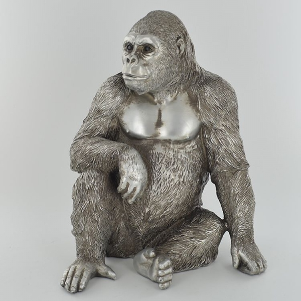 Antique Silver Large Gorilla Sitting Ornament