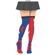 Harley Quinn Diamond One Size Sock Illusion Tights - Red & Blue