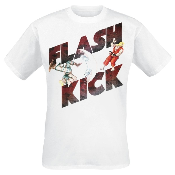 Street Fighter IV Adult Male Guile's Flash Kick Medium T-Shirt - White