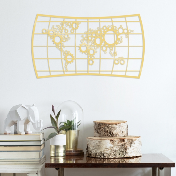 Wheel - Gold Gold Decorative Metal Wall Accessory