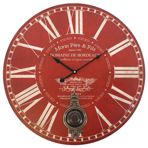 Large Red Morin Pere & Fils Wall Clock with Pendulum