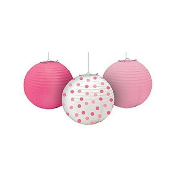Round Pink Paper Lantern Baby Girl Decoration