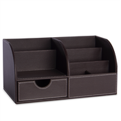 Faux Leather Desk Organiser | Pukkr Brown