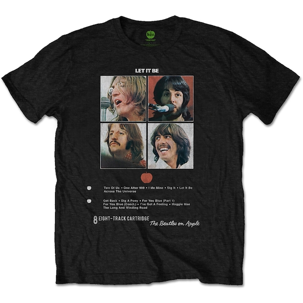 The Beatles - Let it Be 8 Track Unisex Small T-Shirt - Black
