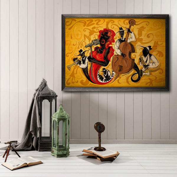 Jazz Music Group Multicolor Decorative Framed Wooden Painting