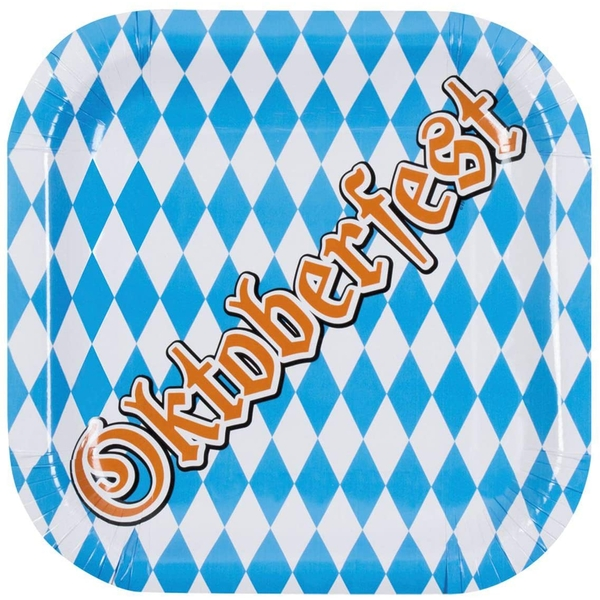 Oktoberfest Beer Festival Dinner Set Light Blue/White (Pack Of 6)