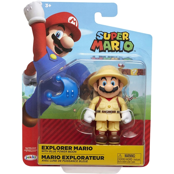 Explorer Mario Blue Power Moon (World Of Nintendo) Action Figure