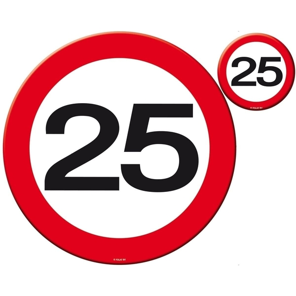 25th Birthday Traffic Sign Coasters (Pack Of 4)