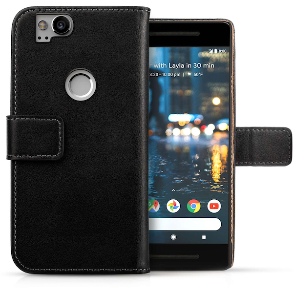Google Pixel 2 Real Leather Wallet - Black