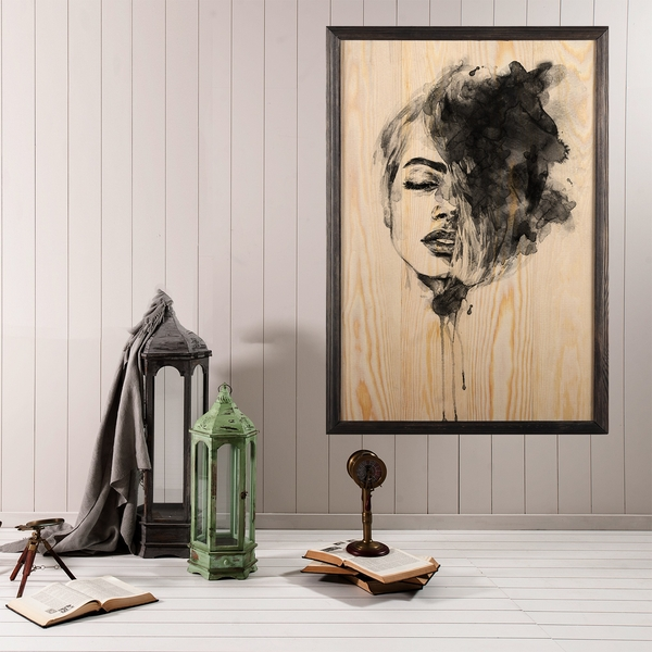 Woman Face Multicolor Decorative Framed Wooden Painting