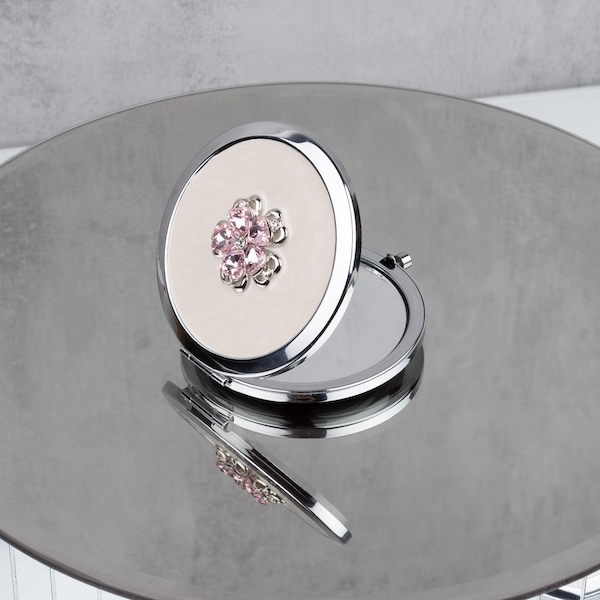 Sophia Silverplate Pink Floral Compact Mirror